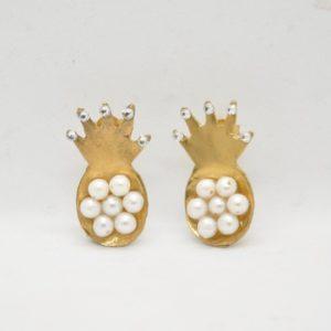 Σκουλαρίκια Ανανάς Χρυσά
