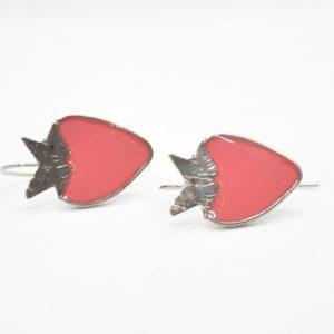 Σκουλαρίκια Φράουλες Ασημένια