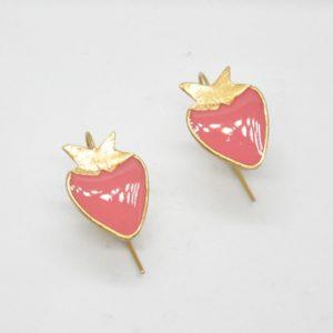 Σκουλαρίκια Φράουλες Χρυσά