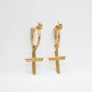 Σκουλαρίκια Κρικάκια Σταυρουδάκια Χρυσά