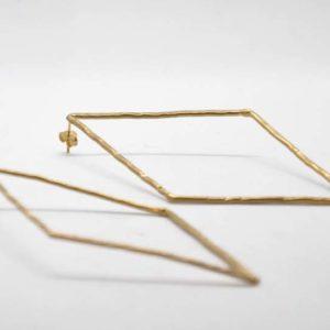 Σκουλαρίκια Ρόμβοι Χρυσοί