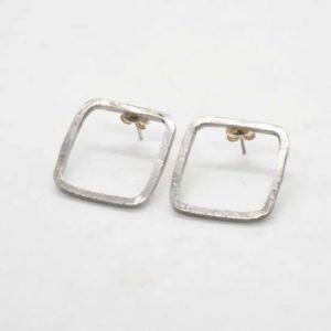 Σκουλαρίκια Τετράγωνα Ασημένια