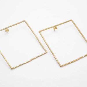 Σκουλαρίκια Τετράγωνα Μεγάλα Χρυσά