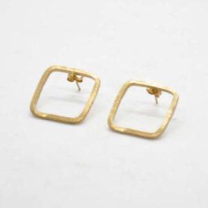 Σκουλαρίκια Τετράγωνα Χρυσά