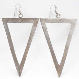 Σκουλαρίκια Τρίγωνα Μεγάλα Ασημένια