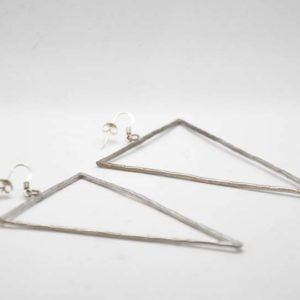 Boho Σκουλαρίκια Τρίγωνα Σφυρήλατα Ασημένια