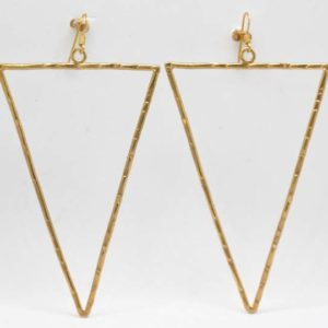 Boho Σκουλαρίκια Τρίγωνα Σφυρήλατα Χρυσά
