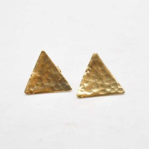 Σκουλαρίκια Τρίγωνα Σφυρήλατα Χρυσά