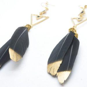 Rabilonga Σκουλαρίκια Boho με Φτερά Χρυσά