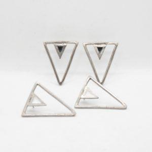 Rabilonga Σκουλαρίκια Boho Τρίγωνα Ασημένια
