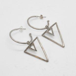 Rabilonga Σκουλαρίκια Boho Κρίκοι Τρίγωνα Ασημένια