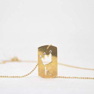 Κολιέ Ταυτότητα Μικρή Μονόγραμμα Χρυσό