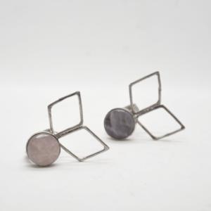 Parotia Δαχτυλίδι Με Ρόμβους Και Πέτρα Ασημένιο