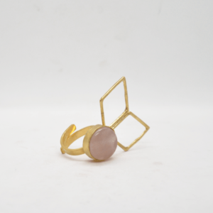Parotia Δαχτυλίδι Με Ρόμβους Και Πέτρα Χρυσό
