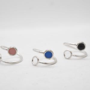 Δαχτυλίδι Ασημένιο Ανοιχτό Με Χρώμα