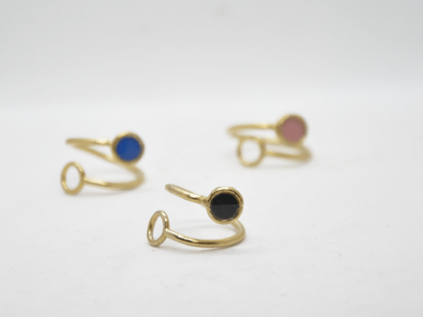 Δαχτυλίδι Χρυσό Ανοιχτό Με Χρώμα