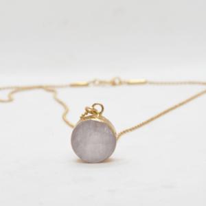 Κολιέ Με Πέτρα Χρυσό – Ρόζ Quartz