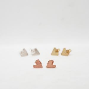 Σκουλαρίκια Καρδούλες Ροζ Χρυσό