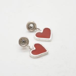 Σκουλαρίκια Καρδιές Ασήμι 925