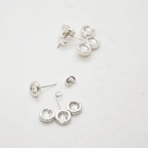 Σκουλαρίκια Διπλά Με Swarovski Ασημένια