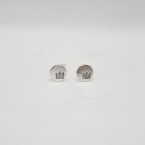 Σκουλαρίκια Με Κορώνα Χαραγμέμη Ασημένια