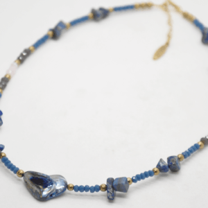 Κολιέ Με Διάφορες Πέτρες Και Φίλντισι Μπλε