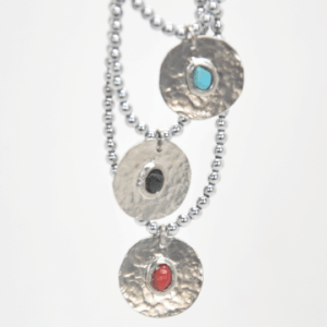 Gouldian Κολιέ Με Φλουρί Και Πέτρες Ασημένιο