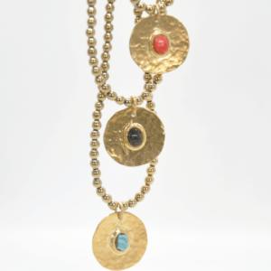 Gouldian Κολιέ Με Φλουρί Και Πέτρες Χρυσό