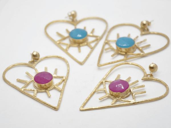 Barn Σκουλαρίκια Καρδιές Με Πέτρα Χρυσά - Βεραμάν