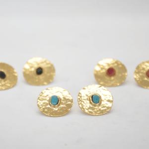 Gouldian Σκουλαρίκια Φλουριά Και Πέτρες Χρυσά