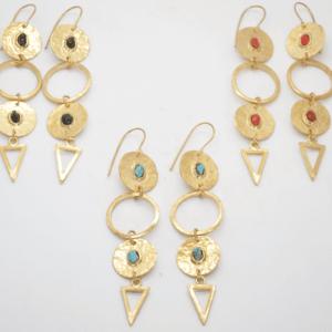 Gouldian Σκουλαρίκια Μακριά Με Φλουριά Και Πέτρες Χρυσά
