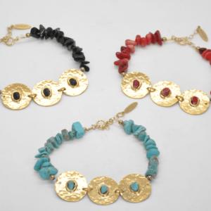 Gouldian Βραχιόλι Με Φλουριά Και Πέτρες Χρυσό