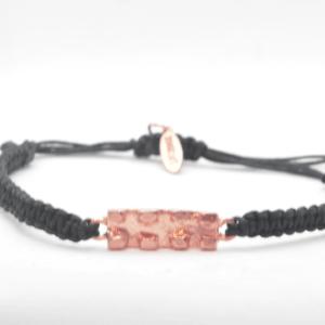Brick Βραχιόλι Μακραμέ Ροζ-Χρυσό