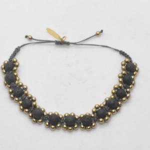 Unisex Βραχιόλι Με Πέτρες Φαρδύ Χρυσό
