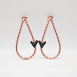 Σκουλαρίκια Δάκρυ Με Καρδιά Ροζ Χρυσό