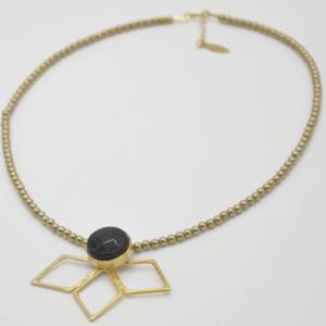 Parotia Κολιέ Με Πέτρες Χρυσό