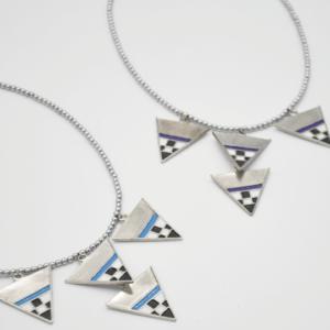 Magpie Κολιέ Με Πέτρες Και Τρίγωνα Ασημένιο