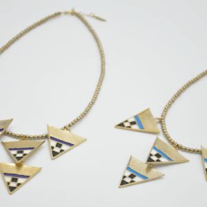 Magpie Κολιέ Με Πέτρες Και Τρίγωνα Χρυσό