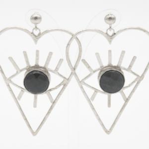 Barn Σκουλαρίκια Καρδιές Με Πέτρα Ασημένια