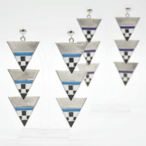 Magpie Σκουλαρίκια Τρίγωνα Μακριά Ασημένια