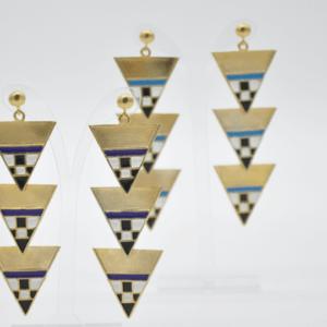 Magpie Σκουλαρίκια Τρίγωνα Μακριά Χρυσά