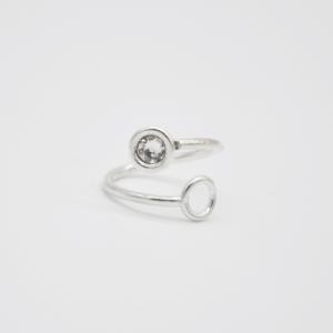 Δαχτυλίδι Ανοιχτό Με Swarovski Ασημένιο