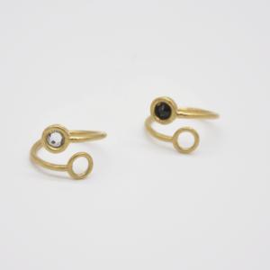 Δαχτυλίδι Ανοιχτό Με Swarovski Χρυσό