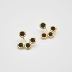 Σκουλαρίκια Διπλά Με Swarovski Χρυσά