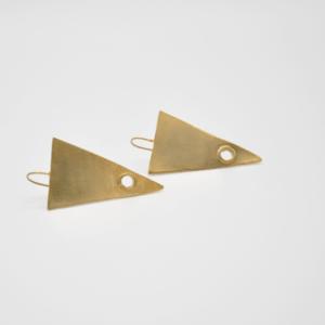 Σκουλαρίκια Τρίγωνα Ματ Χρυσά