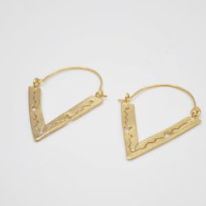Σκουλαρίκια Με Τρίγωνο Χρυσό